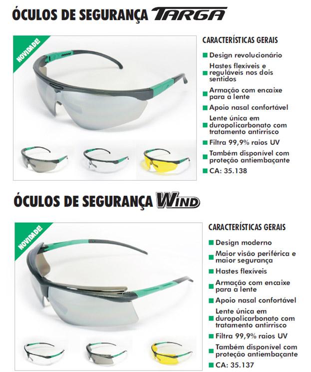 1e37a3cd9f3d3 Óculos de Segurança TARGA e WIND